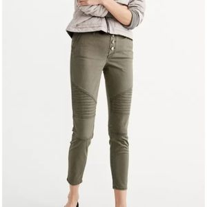 Abercrombie & Fitch olive skinny moto pants s 25